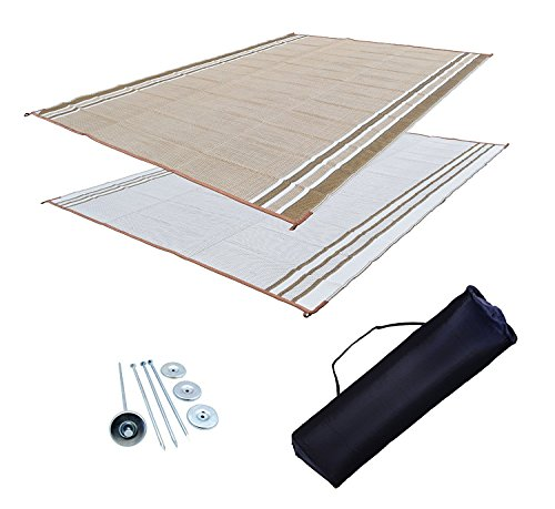 RV Patio Mat: 9x18 Extra-Wide Desert Sands Beige RV Mat (Bag and Stakes)