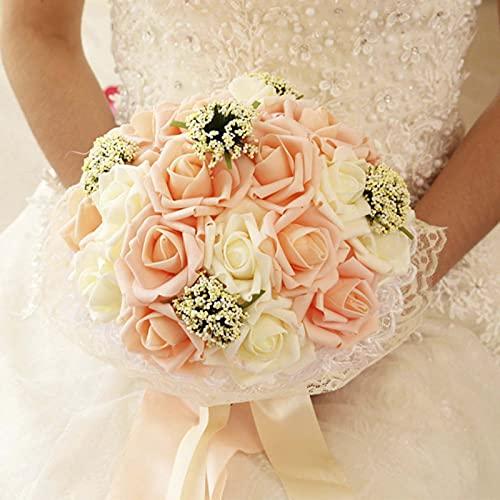 Nicey Bouquet da Sposa Nuziale Damigella d'Onore PE Artificiale Fiore Rosa Perla Finta Bouquet Rosa Forniture per Matrimoni Decorazioni per Festival