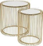KARE Design Beistelltisch Wire Gold 2er Set, runder, moderner Glastisch, kleiner Couchtisch, Kaffeetisch, Nachttisch, Gold (H/B/T) 42,5xØ32,5cm & 45xØ44cm