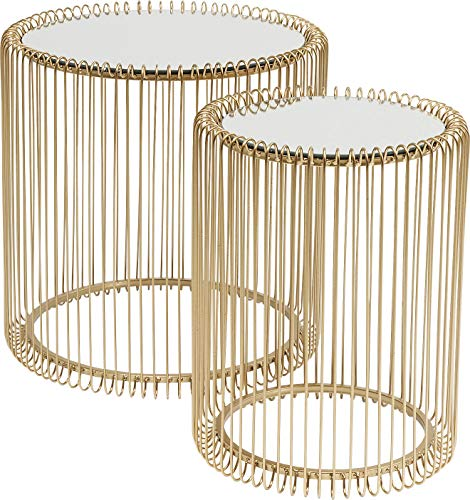 KARE Design Mesita Filo, Set de 2, Color dorado, 45 x 44 cm