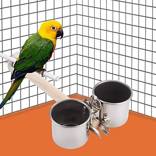 Redxiao Vogelhäuschen, Edelstahl Vogelpapagei Fütterungsbecher Vogelfutter Wasserschale Futterbecher mit Clip und Papageienkäfigständer(Medium)