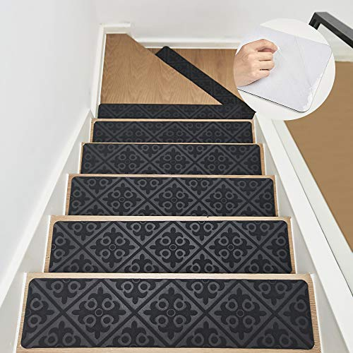 "8""x32"" Stair Treads Carpet Non Slip Indoor Gray 2 Pack, Carpet Stair Runner for Wooden Steps, Rubber Adhesive Stair/Floor Treads Safety Grip for Kids Elders and Pets"