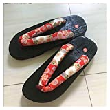 LPZW Zapatos Casuales de Madera de Madera de Madera Estilo japonés Chino Geta Bandera para Hombre Verano Cosplay Sandalias Zapatillas al Aire Libre (Color : Color9, Shoes Size : 42)