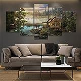 WKXZZS Cuadros Decoracion Dormitorios 5 Piezas 150x80cm - Cuadro sobre Lienzo - Impresión En Lienzo Montado sobre Marco De Madera - Cabina en el Lago