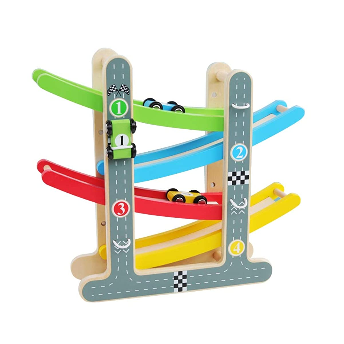 振動する最悪さびたXyanzi 子どもおもちゃ 幼児のおもちゃレーストラック、4台のミニカーとランプレーサーゲーム初期開発車両プレイセット玩具(サイズ:8.86
