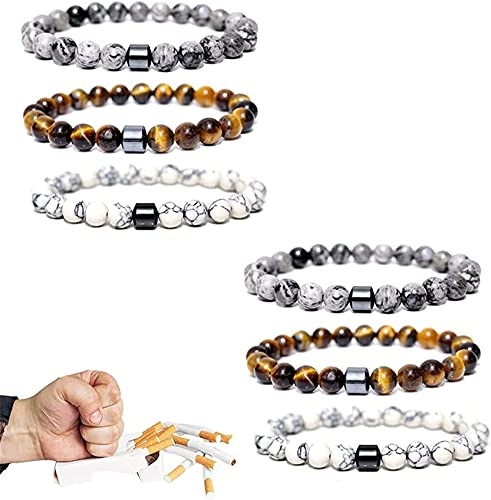 SmokeFree HealthyLungs Bracelet, Smoking Cessation Bracelet, Triple Mens Power Therapeutic Bracelet, Duramen Energy Resurrect Bracelet, Anti Anxiety Bracelet, Improves Health and Body (6pcs)