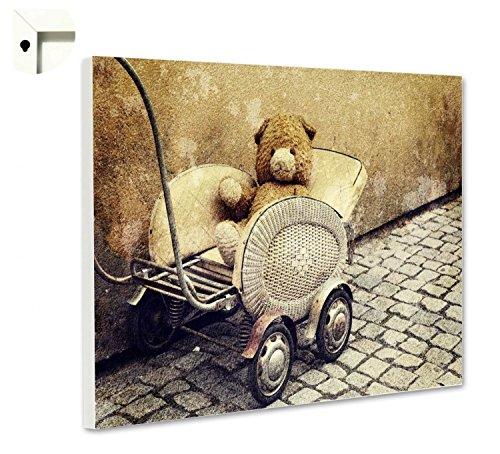 Magneetbord prikbord met motief antiek teddy poppenwagen 80 x 60 cm