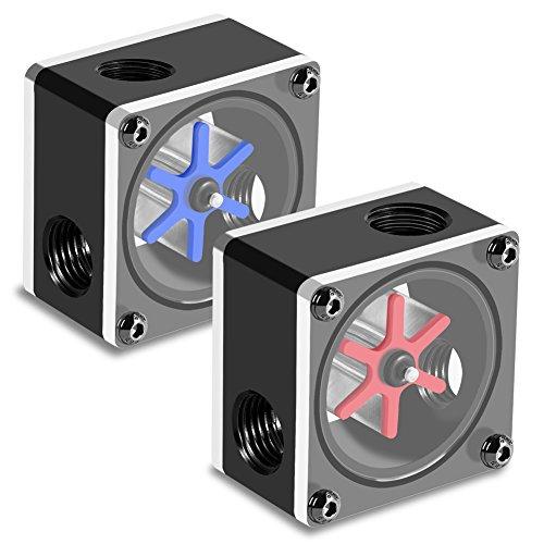 Yunir Wasserdurchflussmesser, 6 Laufräder 3-Wege-Durchflussmesser-Anzeige G1/4-Gewinde für PC-Wasserkühlsystem