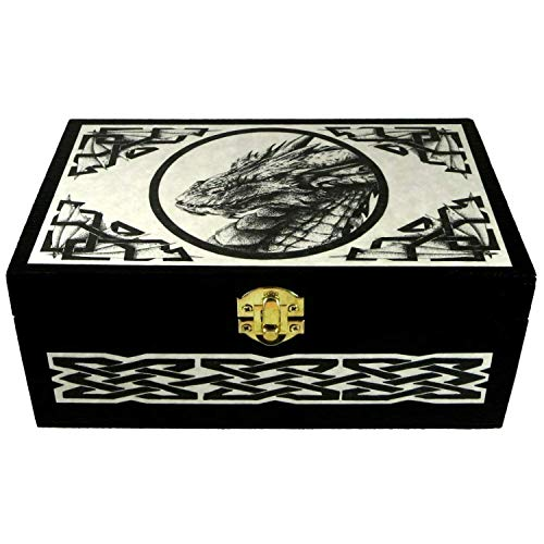 Wooden Celtic Dragon Box with Original Pen And Ink Art by Melanie Fuller LR105