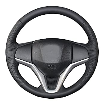 Eiseng DIY Stitching Steering Wheel Cover for Honda HR-V HRV Vezel 2016 2017 2018 2019 2020 2021 / for Honda Fit Hatchback Jazz 2015-2020 Interior Accessories 15 inches Genuine Leather  Black thread