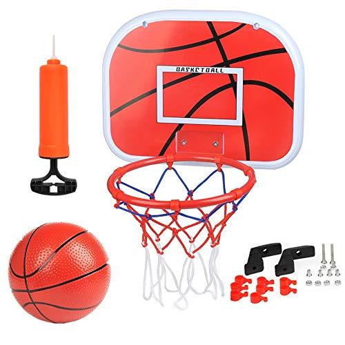 BUYGOO Canasta Baloncesto Infantil Habitacion con Aros Balón y Bomba, Mini Juguetes Deportivos para Interiores y Exteriores
