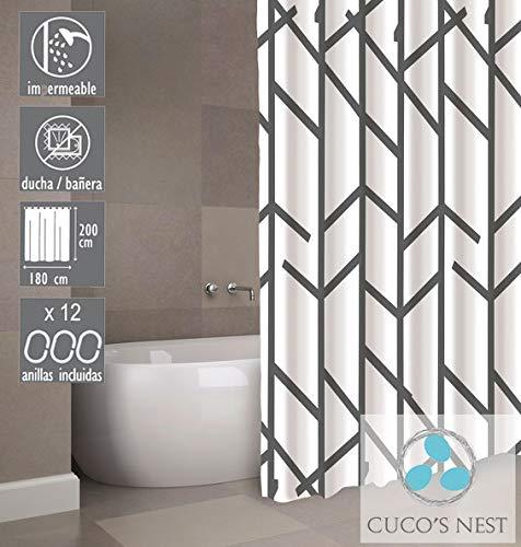 Cuco's Nest douchegordijn Tree douchegordijn textiel. 100% polyester, waterdicht, anti-schimmel, antibacterieel. Antraciet