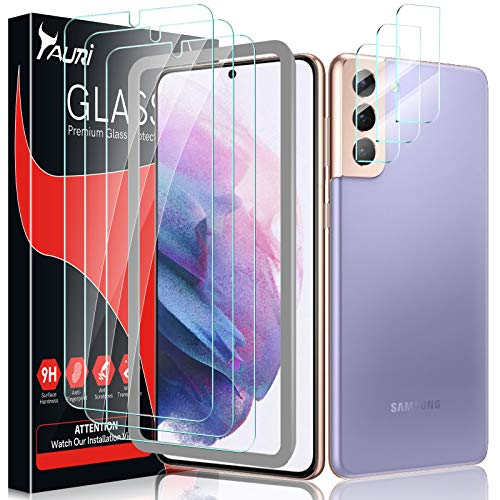 Tauri 2 Pack Tempered Glass Screen Protector + 2 Pack Camera Lens Protector Compatible with Samsung Galaxy S21 Plus 5G 6.7 - inch Easy Installation HD-Clear Bubble Free