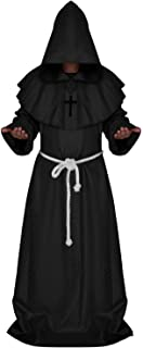 Men's Halloween Cosplay Costume Friar Medieval Hooded Monk Priest Robe