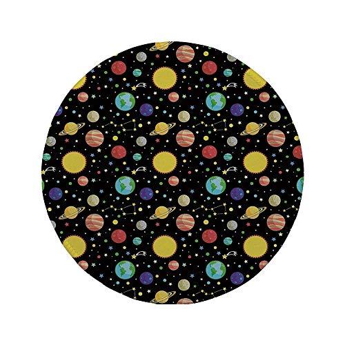 Rutschfreies Gummi-Rundmaus-Pad Weltraum Kometen und Sternbilder Sterne mit Tupfen Erde Sonne Saturn Mars Sonnensystem mehrfarbig 7.9