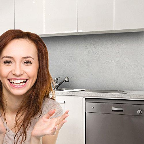 druck-expert Küchenrückwand Selbstklebend Dekorfolie Beton hell Profi Qualität 0, 25mm 3D Strucktur 400x61cm