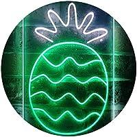 Pineapple Fruit Store Dual Color LED看板 ネオンプレート サイン 標識 白色 + 緑色 300 x 400mm st6s34-i3296-wg