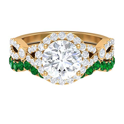 Half Eternity Band, Wedding Rings Set, 2.68 CT Round Moissanite Ring, D-VSSI Moissanite and Emerald Ring, Gold Split Shank Ring (AAA Quality), 14K Yellow Gold, Size:UK H1/2