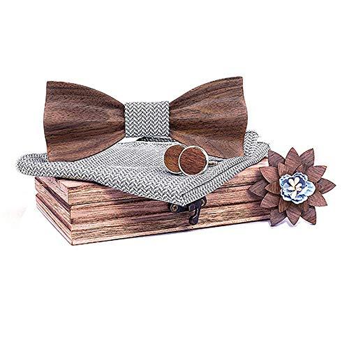 All-match bow tie Hombres elegantes Hecho a mano Hermosa Bood Lazo de la pajarita con la plaza del bolsillo a juego y los gemelos fijados en la caja de regalo. Suitable for going out with an adjustabl