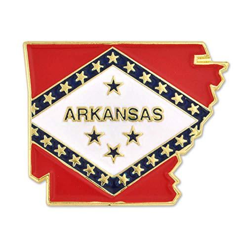 PinMart State Shape of Arkansas and Arkansas Flag Pin 1-1/8'