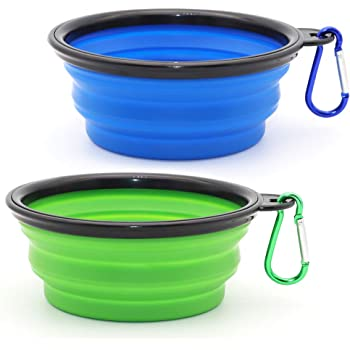 SLSON Collapsible Dog Bowl, 2 Pack Collapsable Dog Water Bowls for Cats Dogs, Portable Pet Feeding Watering Dish for Walking Parking Traveling with 2 Carabiners