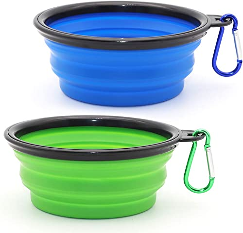 SLSON Collapsible Dog Bowl, 2 Pack Collapsible Dog Water Bowls for Cats Dogs, Portable Pet Feeding Watering Dish for ...