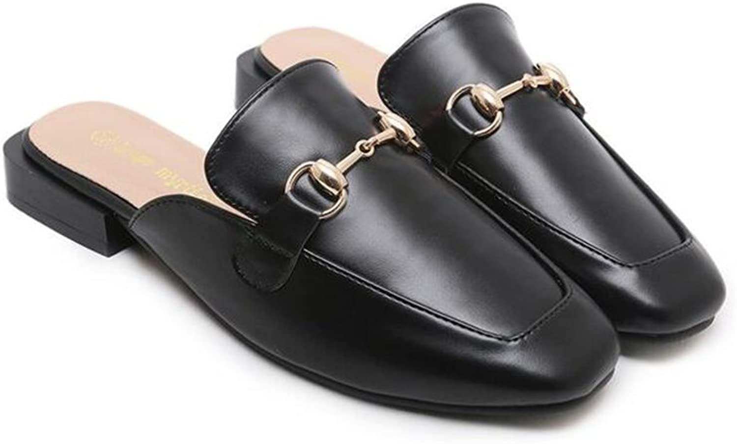 Bon Soir Women's Backless Loafers Leisure Leather Oxford Slipper Slip-On Casual Loafer Flats shoes