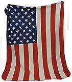 B&F Super Soft Fleece US Flag Throw Blanket