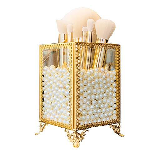 YunNasi Rangement Cosmétiques Support pour Pinceaux de Maquillage en Verre avec des Perles Blanches pour Coiffeuse et Salle de Bain, Small