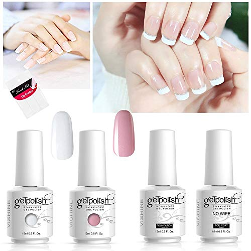 Vishine Gel Polish French Manicure Kit Top Base Coat Set Nail Gel Color White Pink Pedicure