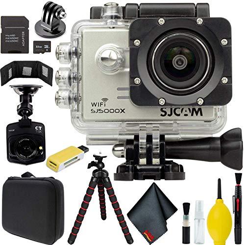 SJCAM SJ5000X Elite 4K Action Camera (Silver) with Car Dash Camera