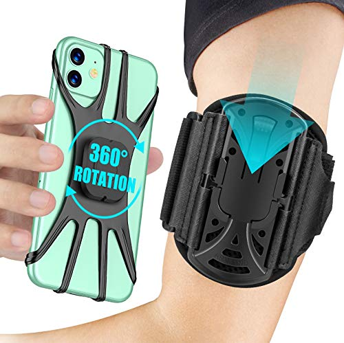 Cocoda Sportarmband Handy, Handytasche Laufen, [360° Drehbar & Abnehmbar], Armtasche Joggen, Handy Armband mit Kopfhörer und Schlüsselhalter, Kompatibel mit iPhone 13 Pro bis zu 6,5
