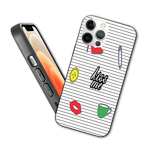 Compatible con iPhone 12 Series 2020, diseño retro, diseño de zapatero y labios rojos en telón de fondo de rayas monocromáticas para iPhone 12 de 6.1 pulgadas