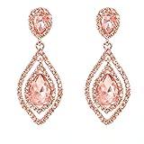 NLCAC Rose Gold Teardrop Crystal Earrings Dangle Long Rhinestone Chandelier Earring Wedding Jewelry for Bride Mother's Day Gift Jewelry