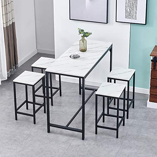 Bar Set with White Marble Effect, Bar Table with 4 Stools Set Home Bar Set Kitchen Counter Set for Breakfast Modern High Dining Table with 4 Chairs for Home Dining Room Bar Restaurant Bistro