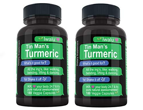 Iwalu Turmeric Curcumin with Bioperine: Best Support Natural Supplements for Sore Joint Pain Supplement Made with Organic Tumeric Curcumin Supplement 95 Percent Cucurmin Tumeric Black Pepper 2 Pack