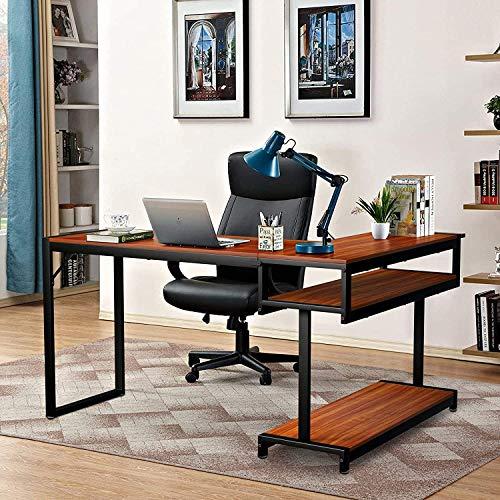 Amzdeal Mesa Escritorio Esquinero, Escritorio en L Mesa de Ordenador, 141 x 105 x 75,5 cm, con Estantes de Almacenamiento, Fácil de Montar, Mesa de Trabajo en Casa y Oficina (Marrón)