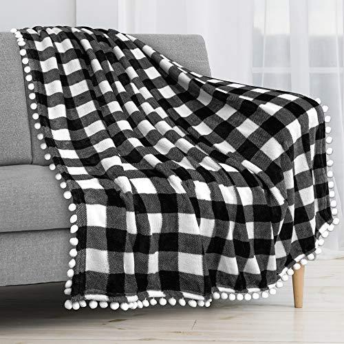 PAVILIA Pom Pom Blanket Throw Twin, Buffalo Plaid White Black Check | Soft Fleece Pompom Fringe Blanket Couch Bed Sofa | Decorative Farmhouse Cozy Plush Warm Flannel Velvet Tassel Throw Blanket, 60x80