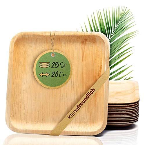 palmenwald© 25 Stück kompostierbare Einwegteller | Teller aus Palmblatt- Größe ca. 20cm - robuste & stabile ALTERNATIVE zu Plastikgeschirr | Einweggeschirr Partygeschirrr Wegwerfgeschirr