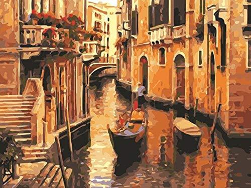 TGHYU Pintura Digital para Adultos Pintar por Numeros Adultos Adultos Niños Pintura por Número Kits Venice Water City 16 * 20 Pulgadas (Sin Marco)