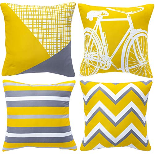 WLNUI Mustard Yellow and Gray Decorative Pillow Covers 18x18 Inch Set of 4 Modern Geometric Bicycle Throw Pillow Covers Soft Square Cushion Case for Sofa Couch Chair Farmhouse Home Decor