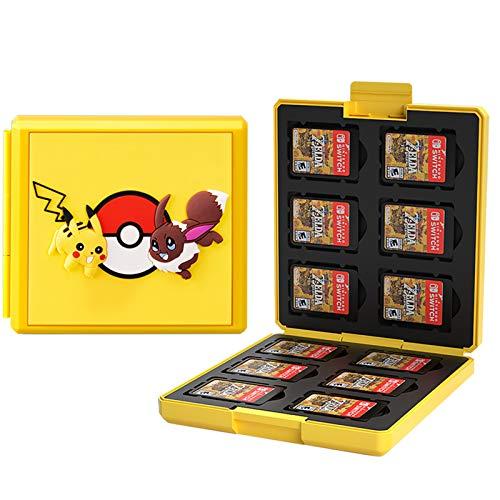 KUEEN Genrics Funda de Juegos Compatible con Nintendo Switch con 12 Ranuras para Almacenamiento de Tarjetas de Juego y 12 Ranuras para Tarjetas SD, Estuche para Nintendo Switch Lite NS (Pokeball)