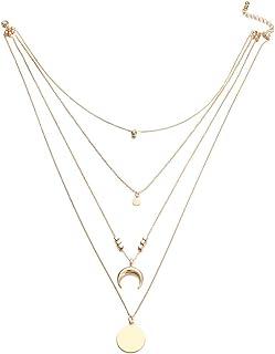 f7deadf0f4b8 1pc Moda Bohemia multi-capa Luna Wafer colgante collar de oro collar de  cadena larga