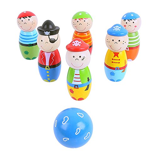 Bigjigs Toys Mini Wooden Pirate Skittles Set with 6 Skittles and 1 Bowling Ball