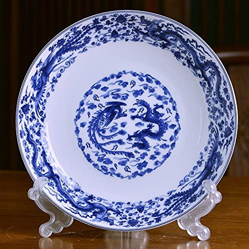 XKMY Plato hondo Jingdezhen de cerámica de 20,32 cm, plato de plato hondo chino de la familia de hueso China, plato redondo de sopa profunda placa de vajilla antigua (color: negro)