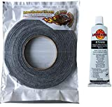 LavaLock Self Stick Kit 1/2' x 1/8' Grey BBQ Smoker Gasket Black RTV Grill Sealer Hi-Temp
