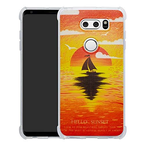 HHDY LG V30 Hülle, Painted Muster Weich Superdünne TPU Silikon Bumper Handyhülle Hülle für LG V30 / V30+ / V30s ThinQ / V30s+ ThinQ / V35 ThinQ,Sunset