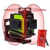 Huepar 3x360° レーザー墨出し器 レッド 赤色 レーザー クロスライン 大矩 フルライン照射モデル 自動水平 高輝度 高精度 ミニ型 2電源方式 充電可能 GF360