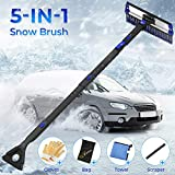 JOYTUTUS 47' Car Snow Brush, 5 in 1 Extendable Foam Snow Brush with Squeegee Ice Scraper, 270° Auto Car Snow Removal Broom, Detachable Car Snow Scraper Brush with Durable Gloves for Car (Black)