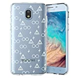 Unov Galaxy J7 2018 Case Clear with Design Slim Protective Soft TPU Bumper Embossed Pattern Cover for Galaxy J7 Crown J7 Refine J7 Star J7 V J7V 2nd Gen J7 Aero J737V(Death Hallows)